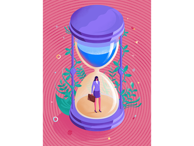"""Ahead of time"" Illustration for Sante magazine hourglass texture graphic design magazine psychology woman isometric illustration"