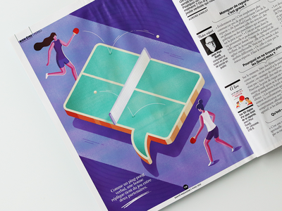 """""""The master of repartee"""" Illustration for Sante magazine sport ping pong table tennis magazine psychology woman isometric illustration"""