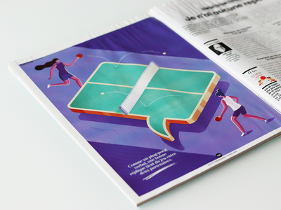 """""""The master of repartee"""" Illustration for Sante magazine sport table tennis ping pong magazine psychology woman isometric illustration"""
