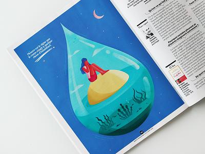 """I cry for nothing"" illustration fro Sante tear crying design magazine psychology woman isometric illustration"