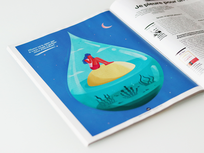 """""""I cry for nothing"""" illustration fro Sante print graphic design drop cry tear magazine psychology woman isometric illustration"""