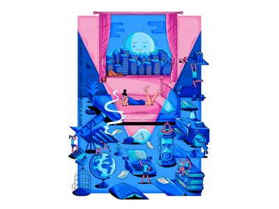 """""""Never go to sleep without a request to your subconscious"""" city moon hourglass book world blue room texture vector print psychology woman isometric illustration"""