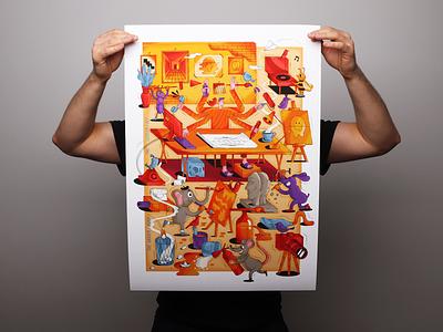 """The harder I work the luckier I get"" workspace atelier artwork orange drawing sculpture painting work print illustration"