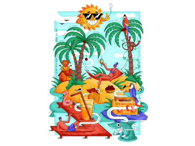 """""""Being in a good mood all day"""" chill sun palm beach texture vector print graphic design woman illustration"""