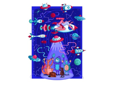 """""""Let today be the start of something new"""" sky woman planet rocket cosmos texture vector print graphic illustration"""