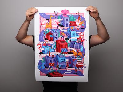"""Bad decisions make good stories"" building giraffe animal party city vector print design isometric illustration"