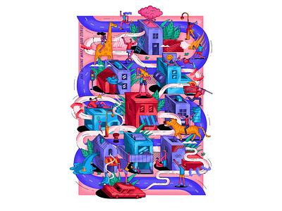 """Bad decisions make good stories"" giraffe party building city vector print design illustration"