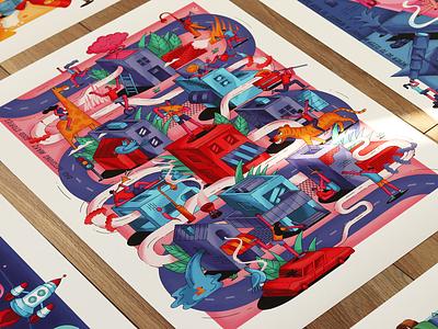 """Bad decisions make good stories"" car music city vector print graphic isometric illustration"