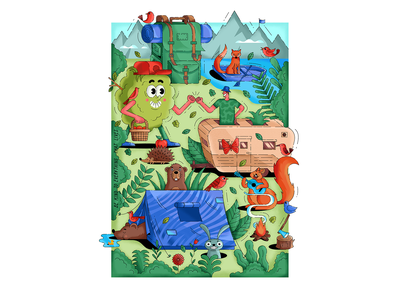 """""""Be kind to everything that lives"""" travel camping forest vector print design isometric illustration"""