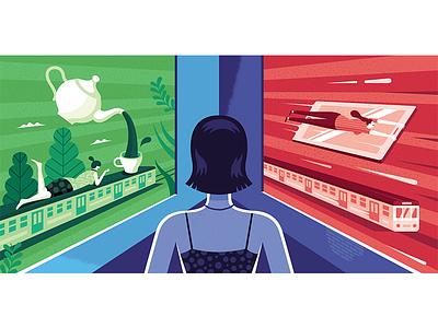 Illustration for Charaktery magazine woman train psychology print photo magazine illustration coffee choices