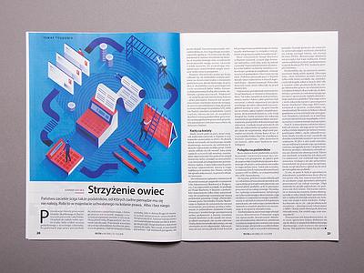 Illustration for Polityka magazine graphic design print magazine psychology woman isometric illustration