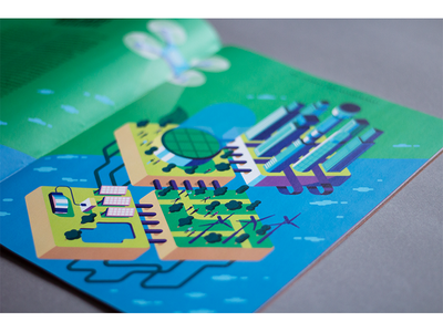 Illustration for Autostadt magazine design graphic print bulding green economy vector magazine isometric illustration