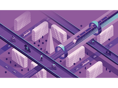 Illustration for Autostadt magazine future city modern train vector graphic design magazine isometric illustration