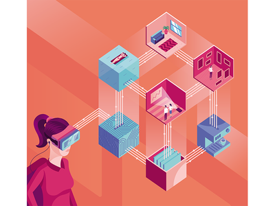 Illustration for Autostadt magazine future vr gogle graphic magazine woman isometric illustration