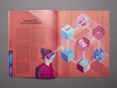 Illustration for Autostadt magazine vr gogle woman magazine print design graphic isometric illustration