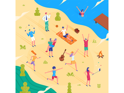 Illustration for Hyundai design graphic vector lake swimming summer beach woman isometric illustration