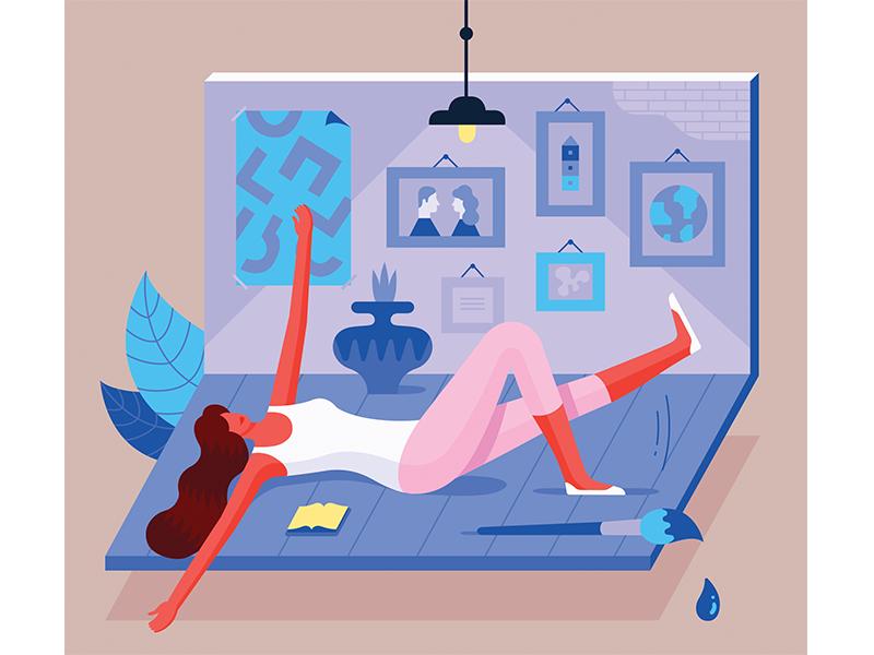 Illustration for Charaktery magazine room interior girl vector magazine psychology woman illustration