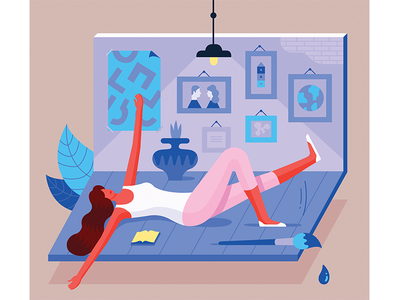 Illustration for Charaktery magazine room interior girl vector magazine psychology woman illustration