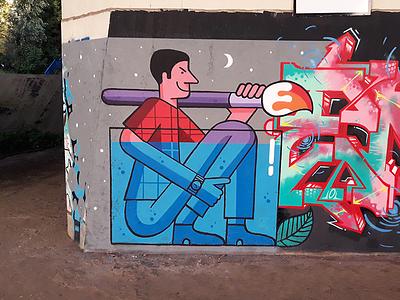 Mural spraypaint spray streetart graphics brush design character wallart wall mural graffiti painting illustration
