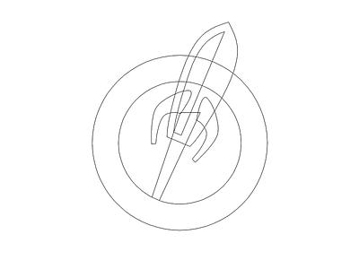 Rocket Wireframe medical badge rocket logo wip