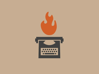 Flame Writer logo design icon design reject logo icon typewriter flame fire design branding