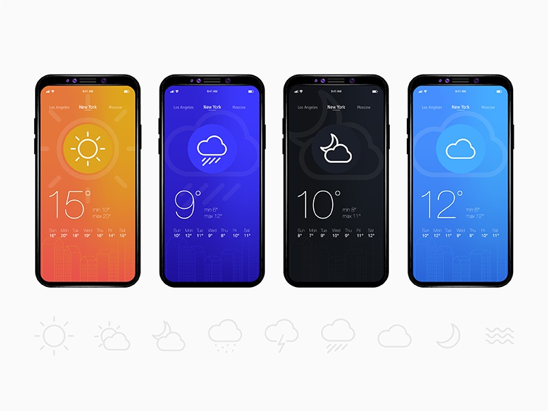 Concept weather app flat mobile 11 ios interface ux ui weather app
