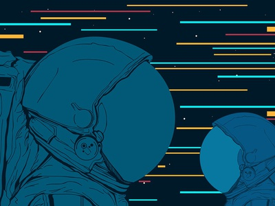 Astronauts in space. Vector illustration.