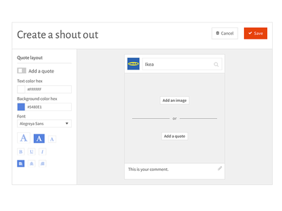 "Create a ""shoutout"" post for WhyCompanies social upload ui cms create edit compose shoutout editor post"
