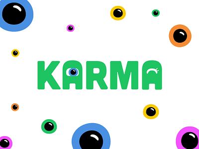 Karma Logo cute scary eyes tinder karma fun friends dating app