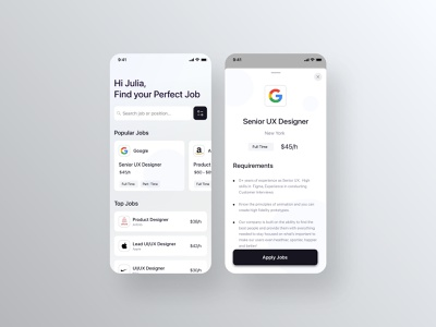Job Search Platforms Mobile App ios app ux ui