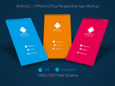 Android L / iPhone 6+ Perspective App Mockup for Free! app android iphone 6 ios ios7 ios8 freebie free perspective mockup template