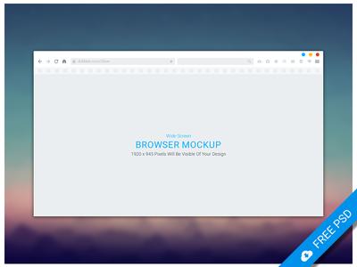Freebie -  Wide Screen Browser Mockup
