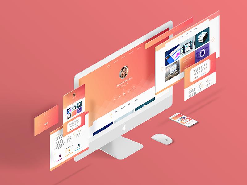 Personal Website / Portfolio Design ui ux web yellow red gradient resume personal website portfolio