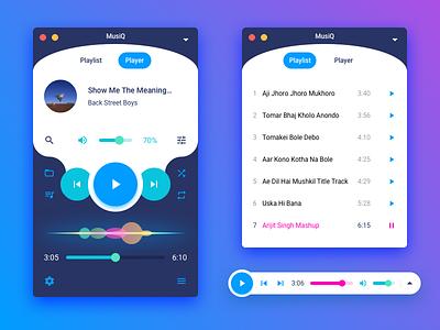 MusiQ - A Music Player Concept sketch mini mode sound audio colorful siri wave siri os x macos player music
