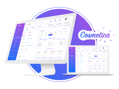 Cosmetica - Dashboard for an Online Cosmetics Shop modern clean blue purple gradient store online shop cosmetic cosmetics dashboard