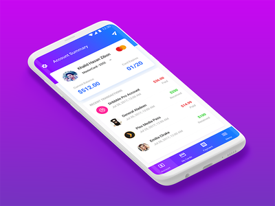 Account Summary blue purple galaxy s8 transactions debit credit bank card summary account