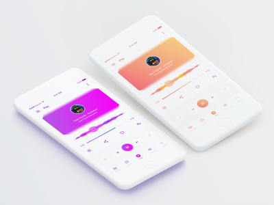 Music Player clean white iphone ios gradient red orange pink purple visualizer visualization music player