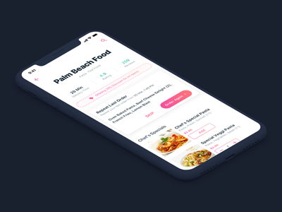 Repeat Order | Restaurant Details | Food App ios delivery time reviews ratings order again add to cart repeat order food delivery app food delivery food app food
