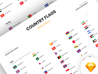 Country Flags - FREE Sketch Library figma flat national country freebie free symbol symbols library sketch vector continents country flags flags