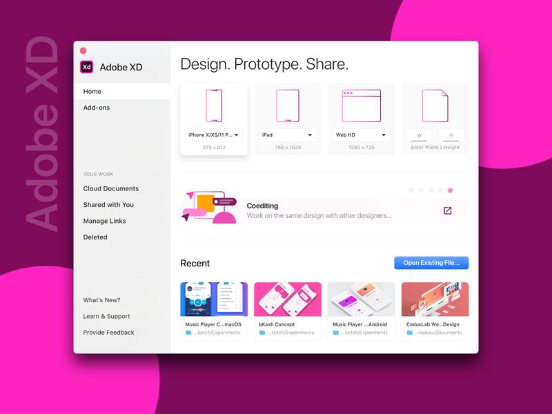 Adobe XD Start Screen