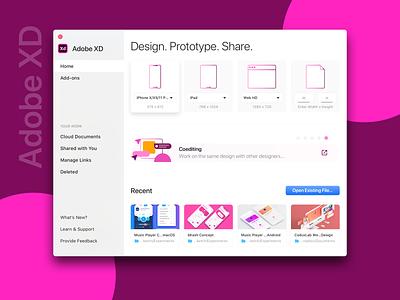 Adobe XD Start Screen start screen experience design concept redesign adobe xd adobexd