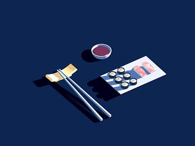 Sushi plate illustration maki soy sauce chopstick 3dfordesigners cinema4d rice sushi