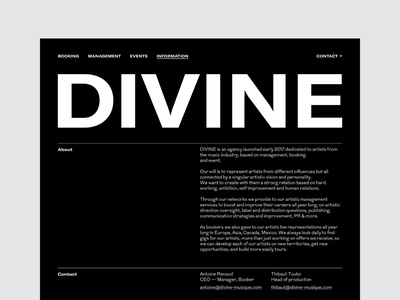 Divine Musique — UX & Interactive Art Direction agency management music art direction ux responsive web site ui interface design