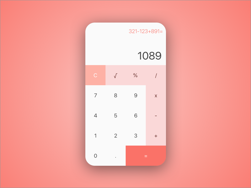 Simple Calculator #dailyui #004 color of the year 2019 pantone living coral calculator 004 dailyui
