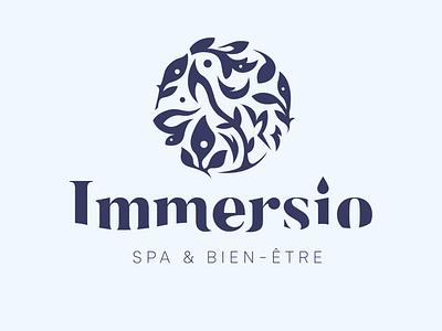 Immersio - Spa Logo organic natural nature design spa branding typography logo logotype