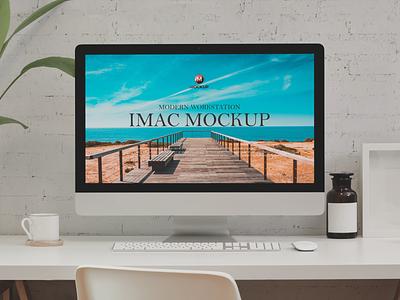 Free Modern Workstation iMac Mockup psd print template stationery mockups ux identity freebie free website mockup mockup psd mockup free free mockup mock-up mockup ui font download branding