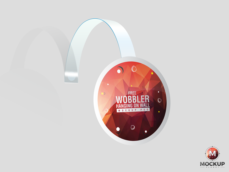 Free Wobbler Hanging on Wall Mockup PSD free freebies free mockup mockup