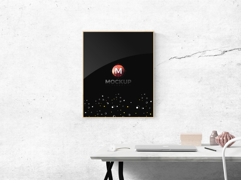 Free Indoor Photo Frame Mockup PSD Template
