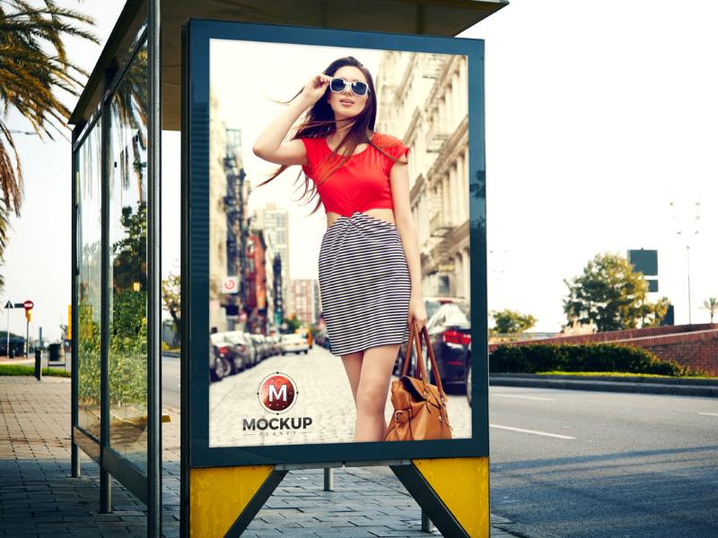 Outdoor bus stop billboard mockup for advertisement