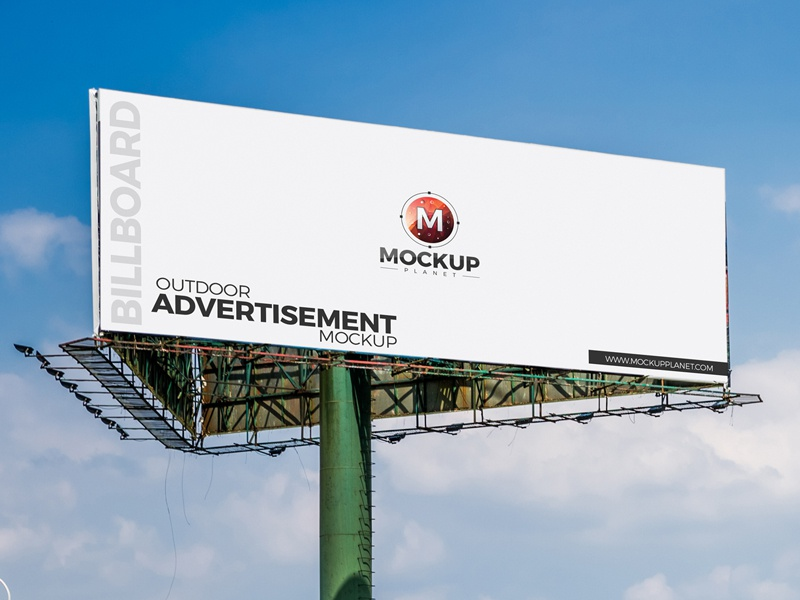 Free outdoor advertisement billboard psd mockup